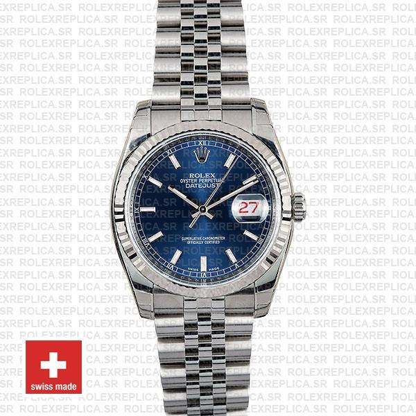 Rolex Datejust 36mm Blue Dial Jubilee Bracelet Rolex Replica Watch