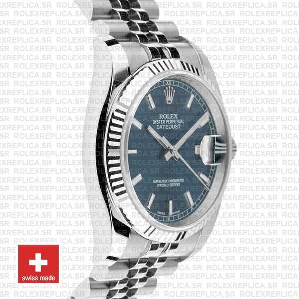 Rolex Datejust 36, 18k White Gold Blue Dial with 904L Steel Fluted Bezel & Jubilee Bracelet