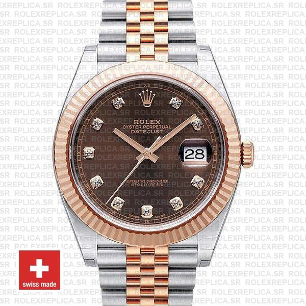 Rolex Datejust Chocolate Diamond Dial Jubilee Two-Tone Watch