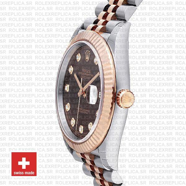 Rolex Datejust Chocolate Diamond Dial Jubilee Two-Tone Replica Watch