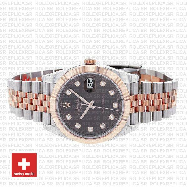 Rolex Datejust 41 Jubilee 2 Tone 18k Rose Gold Fluted Bezel Chocolate Dial Diamond Markers 126331 Swiss Replica
