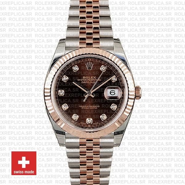 Rolex Datejust Chocolate Diamond Dial Jubilee Two-Tone Rolex Replica Watch