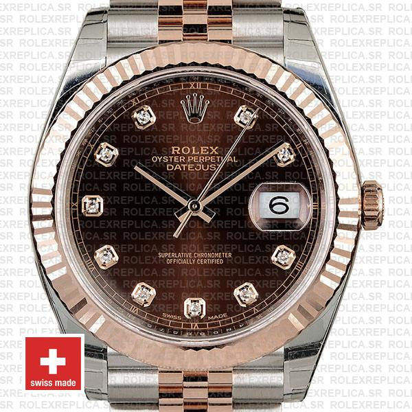 Rolex Datejust Chocolate Diamond Dial Jubilee Two-Tone