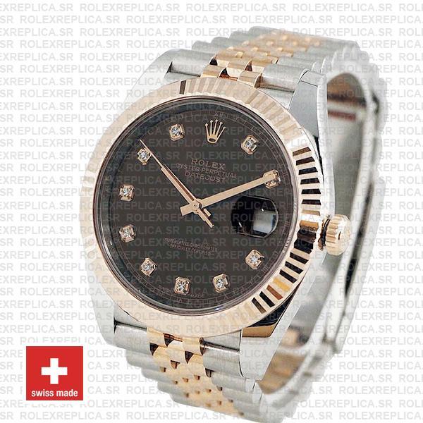 Rolex Datejust 41 Jubilee Bracelet Two-Tone 18k Rose Gold 904L Steel Fluted Bezel Chocolate Dial