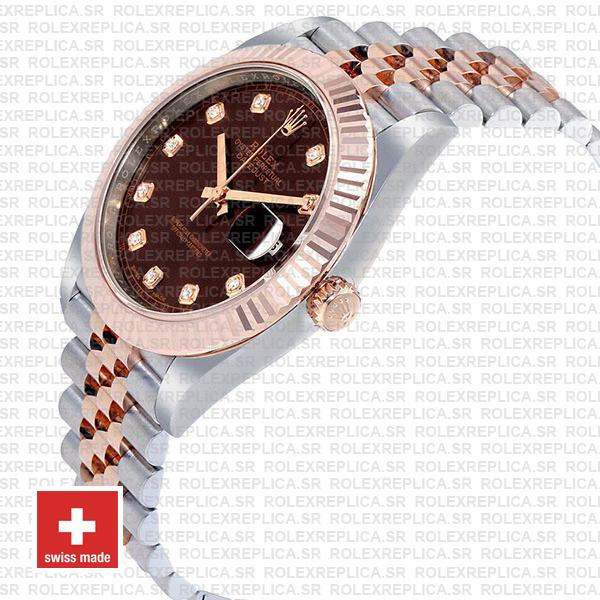Rolex Datejust 41 Jubilee Bracelet Two-Tone 18k Rose Gold 904L Steel Fluted Bezel Chocolate Dial Diamond Markers