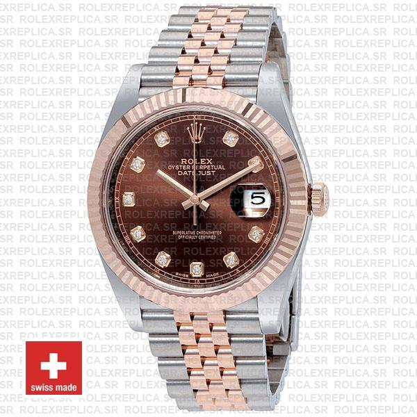 Rolex Datejust 41 Jubilee Bracelet Two-Tone 18k Rose Gold 904L Steel Fluted Bezel Chocolate Dial Diamond Markers Replica