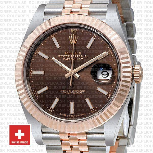 Rolex Datejust Two-Tone 18k Rose Gold Fluted Bezel Chocolate Dial with Jubilee Bracelet 41mm