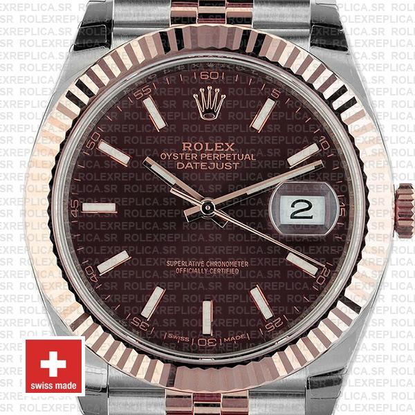 Rolex Datejust 41 Chocolate Sticks Dial Jubilee Rolex Replica Watch