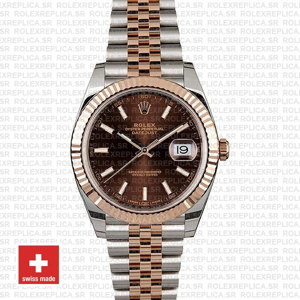 Rolex Datejust 41 Chocolate Sticks Dial Jubilee Bracelet Rolex Replica Watch
