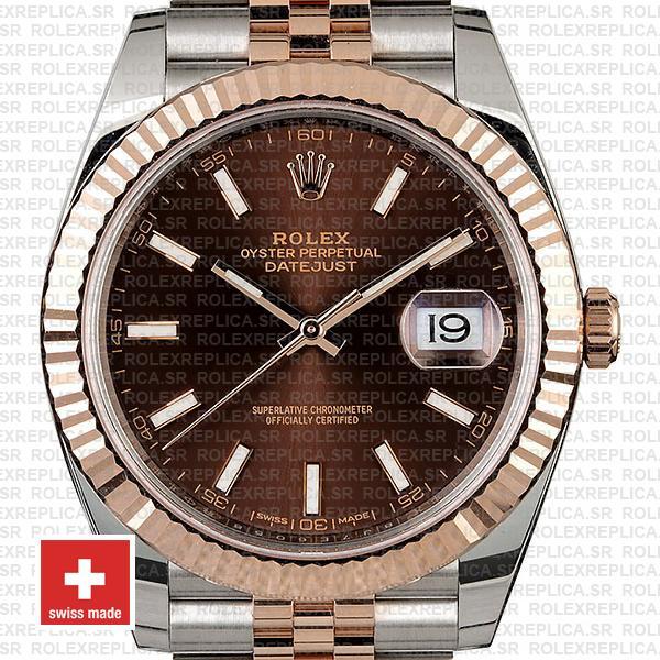 Rolex Datejust 41 Chocolate Sticks Dial Jubilee Bracelet Replica
