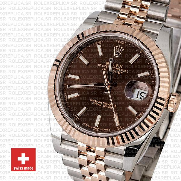 Rolex Datejust Two-Tone 18k Rose Gold Fluted Bezel Chocolate Dial