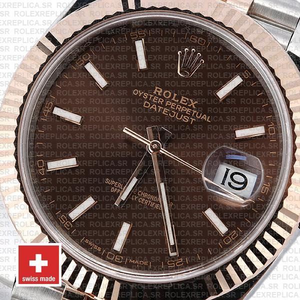 Rolex Datejust Two-Tone 18k Rose Gold Fluted Bezel Chocolate Dial 41mm