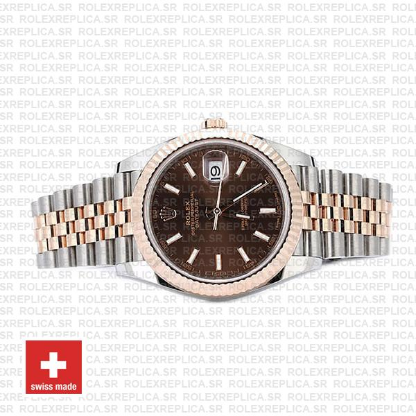Rolex Datejust Two-Tone 18k Rose Gold Fluted Bezel Chocolate Dial with Jubilee Bracelet