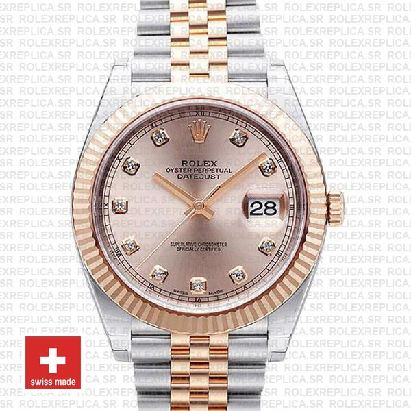 Rolex Datejust 41 Pink Dial Diamonds Jubilee Replica Watch
