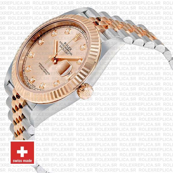 Rolex Datejust 41 Pink Dial Diamonds Jubilee Swiss Replica Watch
