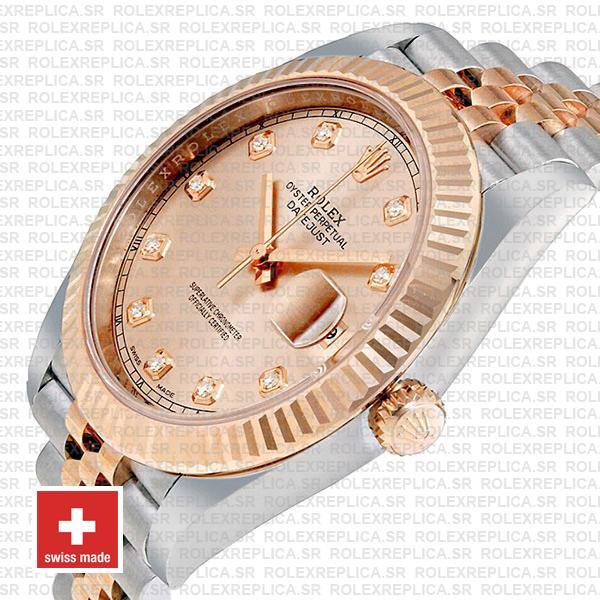 Rolex Datejust 41 Pink Dial Diamonds Jubilee Replica