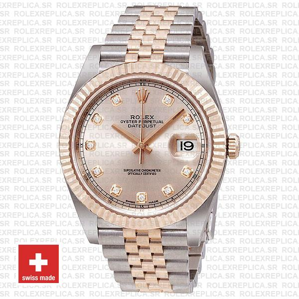 Rolex Datejust 41 Pink Dial Diamonds Jubilee Bracelet Replica