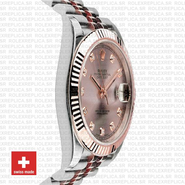 Rolex Datejust 41 Pink Dial Diamonds Jubilee Bracelet