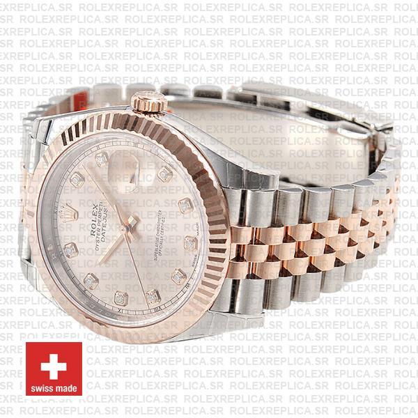 Rolex Datejust Jubilee Bracelet Two-Tone 18k Rose Gold Fluted Bezel Pink Diamond Dial
