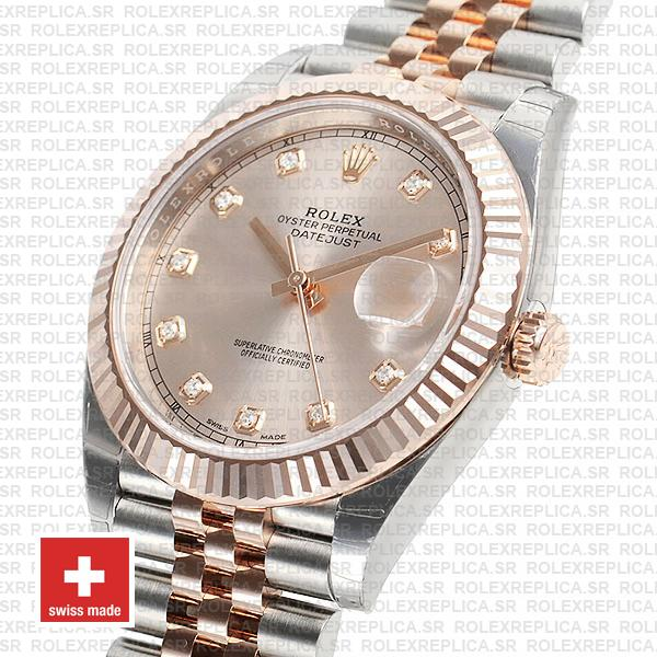 Rolex Datejust Jubilee Bracelet Two-Tone 18k Rose Gold Fluted Bezel Pink Diamond Dial 41mm