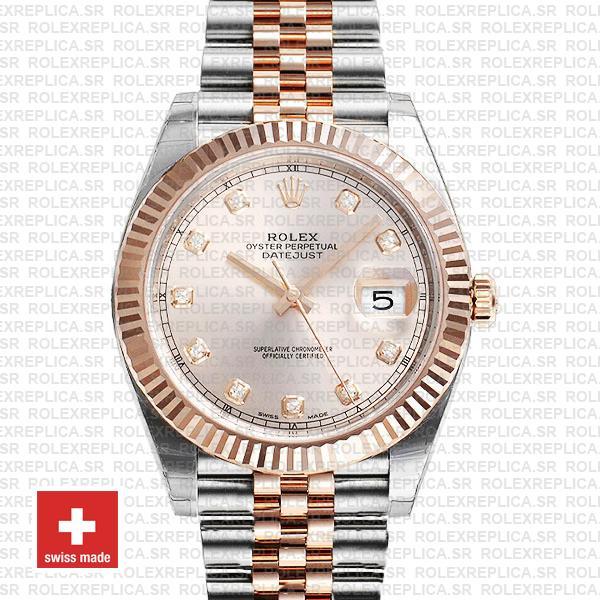 Rolex Datejust Jubilee Bracelet Two-Tone 18k Rose Gold Fluted Bezel Pink Diamond Dial 41mm Watch