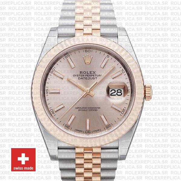 Rolex Datejust 41 Two-Tone Rose Gold Pink Dial Jubilee Watch