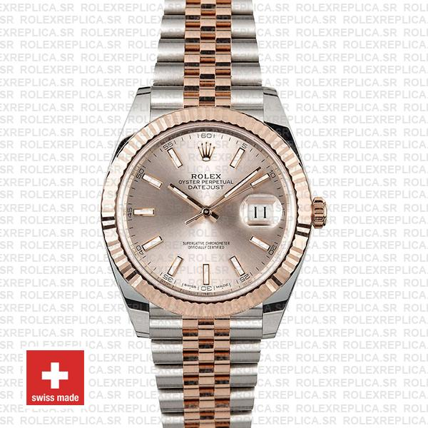 Rolex Datejust 41 Two-Tone Rose Gold Pink Dial Jubilee Replica Watch