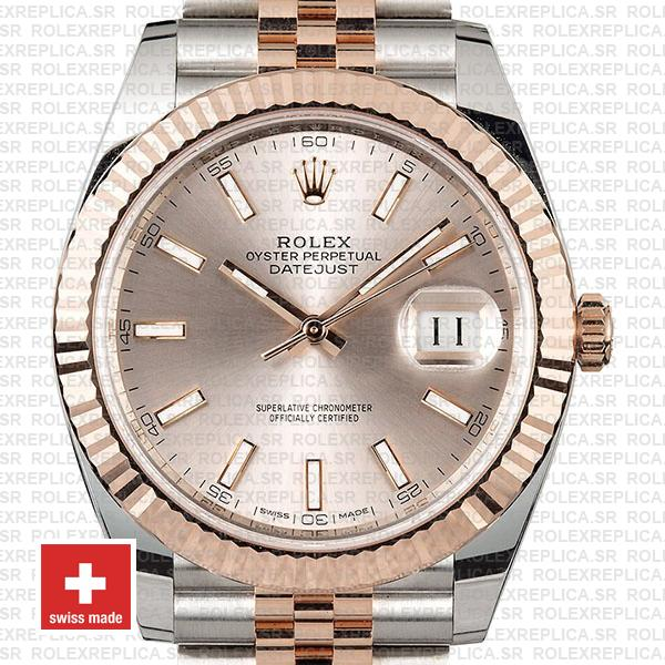 Rolex Datejust 41 Two-Tone Rose Gold Pink Dial Jubilee Swiss Replica Watch