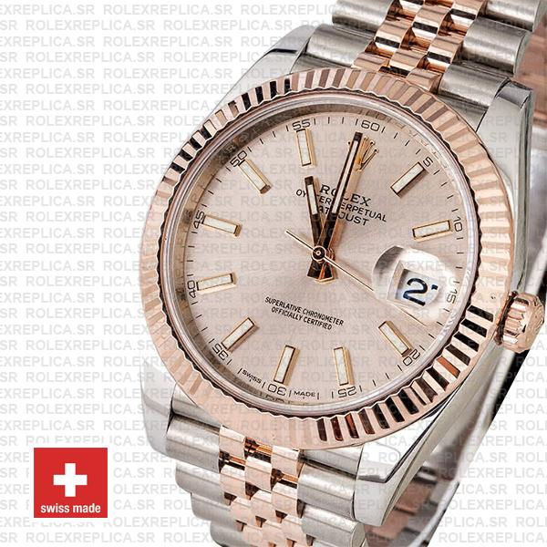 Rolex Datejust 41 Two-Tone Rose Gold Pink Dial Jubilee Replica
