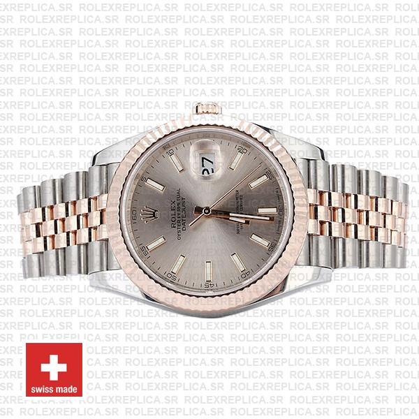 Rolex Datejust Two-Tone 18k Rose Gold 904L Steel Fluted Bezel