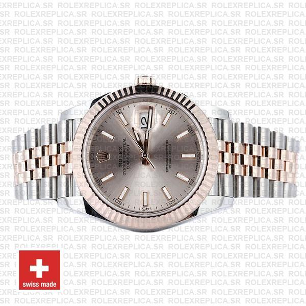 Rolex Datejust Two-Tone 18k Rose Gold 904L Steel Fluted Bezel Pink Dial