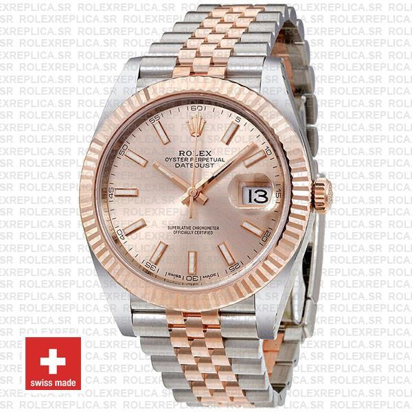 Rolex Datejust Two-Tone 18k Rose Gold 904L Steel Fluted Bezel Pink Dial 41mm Jubilee