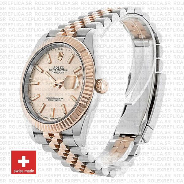 Rolex Datejust Two-Tone 18k Rose Gold 904L Steel Fluted Bezel Pink Dial 41mm Jubilee Bracelet