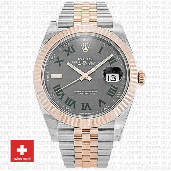 Rolex Datejust 41 Jubilee 2 Tone 18k Rose Gold Fluted Bezel Slate Grey Dial Roman Markers 126331 Swiss Replica