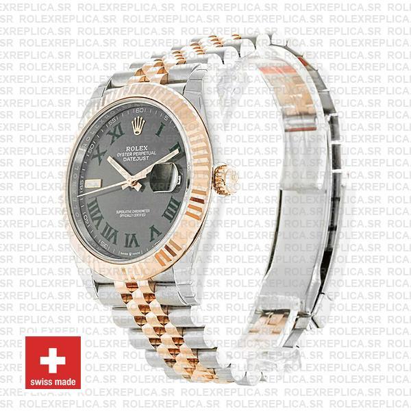 Rolex Datejust 41 Two-Tone 18k Rose Gold, Fluted Bezel Slate Grey Roman Dial Replica Watch