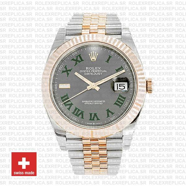 Rolex Datejust 41 Two-Tone 18k Rose Gold, Fluted Bezel Slate Grey Roman Dial Watch