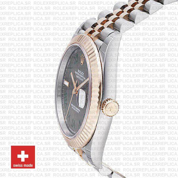 Rolex Datejust 41 Two-Tone 18k Rose Gold, Fluted Bezel Slate Grey Roman Dial