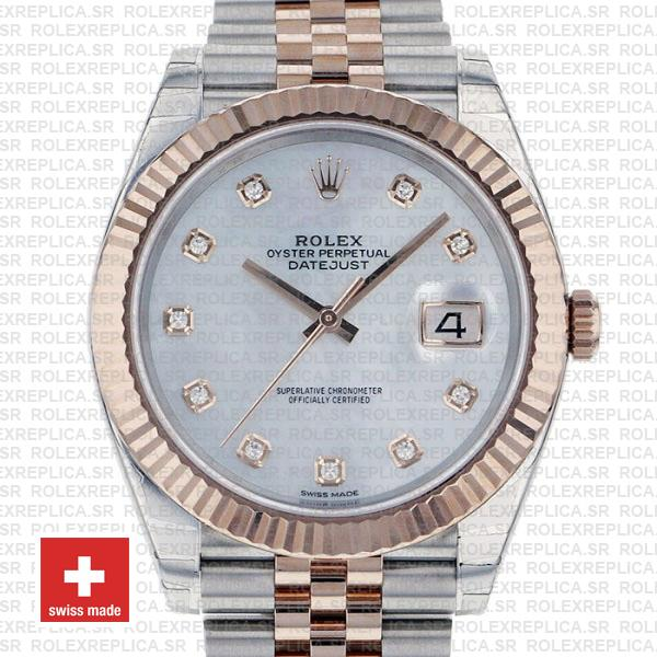 Rolex Datejust 41 Two-Tone White Diamond Dial Jubilee Replica Watch