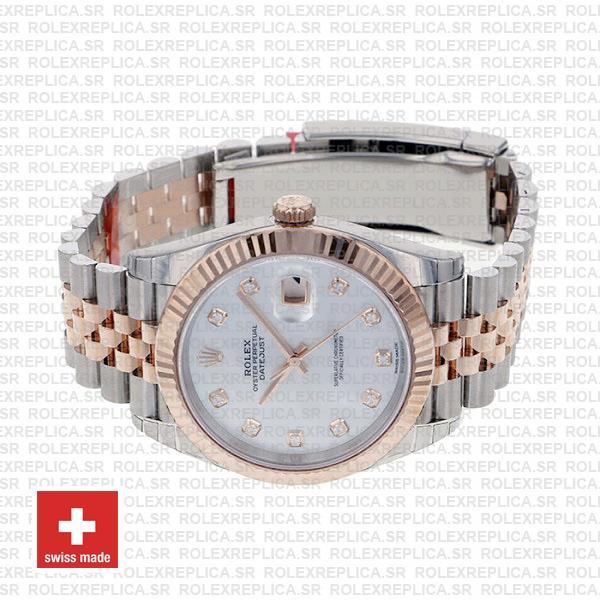 Rolex Datejust 41 Jubilee 2 Tone 18k Rose Gold Fluted Bezel White Mop Dial Diamond Markers 126331 Swiss Replica