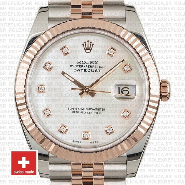 Rolex Datejust Stainless Steel 41mm Two-Tone Jubilee Bracelet 18k Rose Gold Fluted Bezel