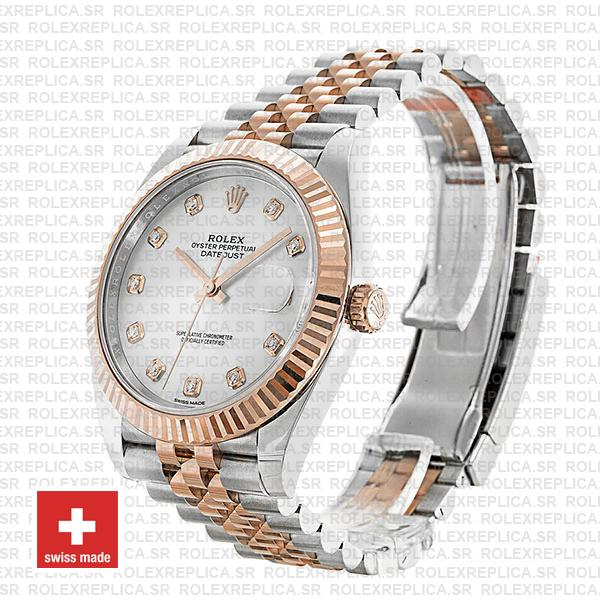 Rolex Datejust Stainless Steel 41mm Two-Tone Jubilee Bracelet 18k Rose Gold Fluted Bezel White Mother of Pearl Diamond Dial