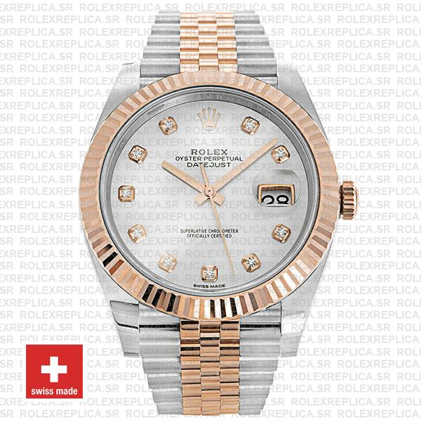 Rolex Datejust Stainless Steel 41mm Two-Tone Jubilee Bracelet 18k Rose Gold Fluted Bezel White Mother of Pearl Diamond Dial Replica