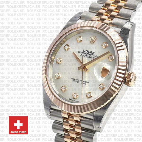 Rolex Datejust Stainless Steel 41mm Two-Tone Jubilee Bracelet 18k Rose Gold Fluted Bezel White Mother of Pearl Diamond Dial Replica Watch