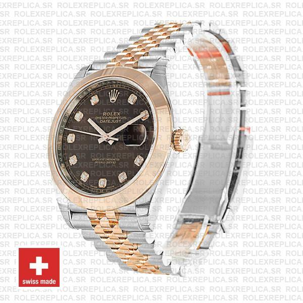 Rolex Datejust 41 Jubilee 2 Tone 18k Rose Gold Smooth Bezel Chocolate Dial Diamond Markers 126301 Swiss Replica