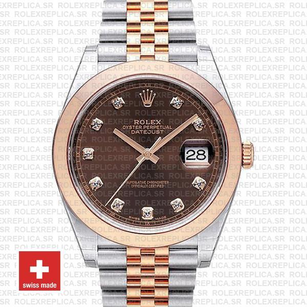 Rolex Datejust Jubilee Chocolate Dial Diamonds Replica Watch
