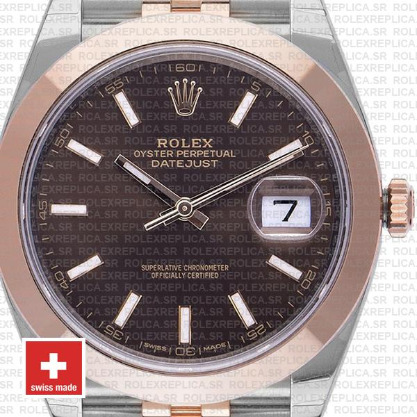 Rolex Oyster Perpetual Datejust Two-Tone 18k Rose Gold Smooth Bezel Chocolate Dial 41mm