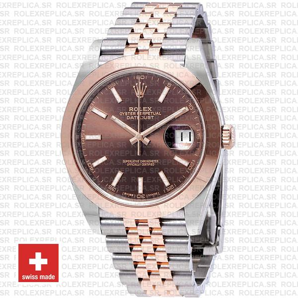 Rolex Oyster Perpetual Datejust Two-Tone 18k Rose Gold Smooth Bezel Chocolate Dial