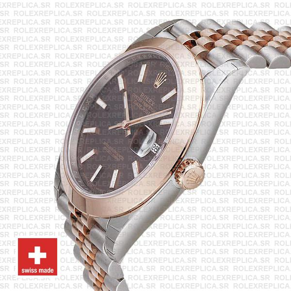Rolex Oyster Perpetual Datejust Two-Tone 18k Rose Gold Smooth Bezel