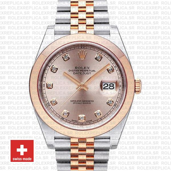 Rolex Datejust 41 Pink Diamond Dial Jubilee Two-Tone Watch