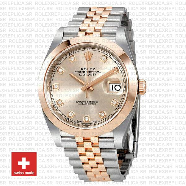 Rolex Datejust 41 Jubilee 2 Tone 18k Rose Gold Smooth Bezel Pink Dial Diamond Markers 126301 Swiss Replica